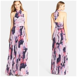 Eliza J Floral Chiffon Maxi Dress Blue Pink Purple
